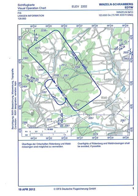 Sichtflugkarte für den Sonderlandeplatz Winzeln-Schramberg
