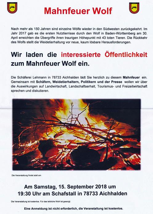 Einladung zum Mahnfeuer Wolf