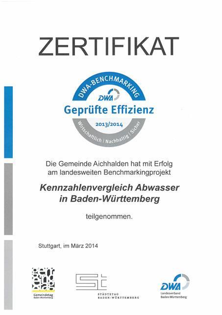 """Zertifikat """"Geprüfte Effizienz"""" - Kennzahlenvergleich Abwasser"""