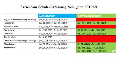 Ferienplan Betreuungszeiten