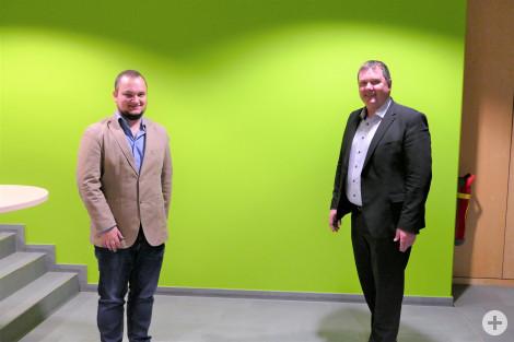 Philipp Stahl und Bürgermeister Michael Lehrer