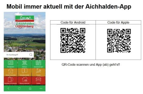 QR Codes zur Aichhalden-App