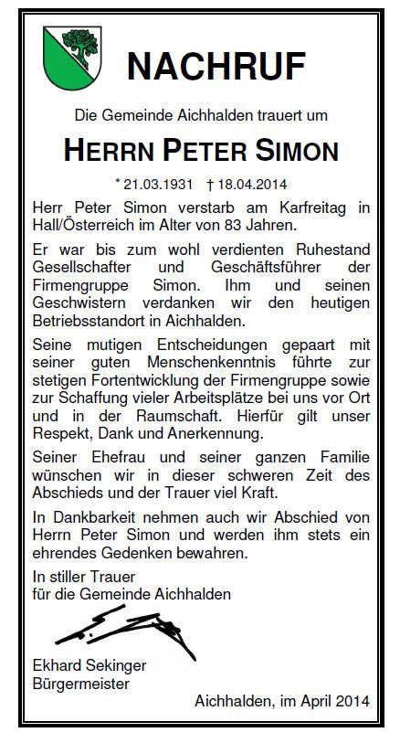 Nachruf Herrn Peter Simon